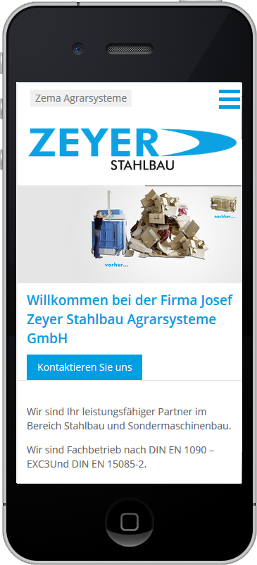 Zeyer Stahlbau - Mobile Webseite